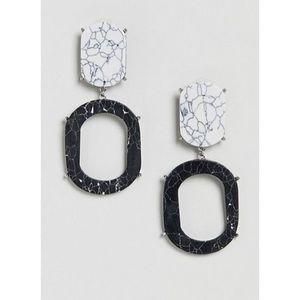 ASOS Marble Effect Double Drop Earrings